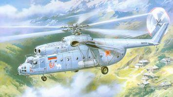 Фото бесплатно вертолет, полет, высота