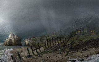 Фото бесплатно забор, дождь, небо