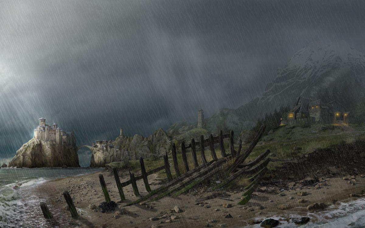 Фото бесплатно забор, дождь, небо - на рабочий стол