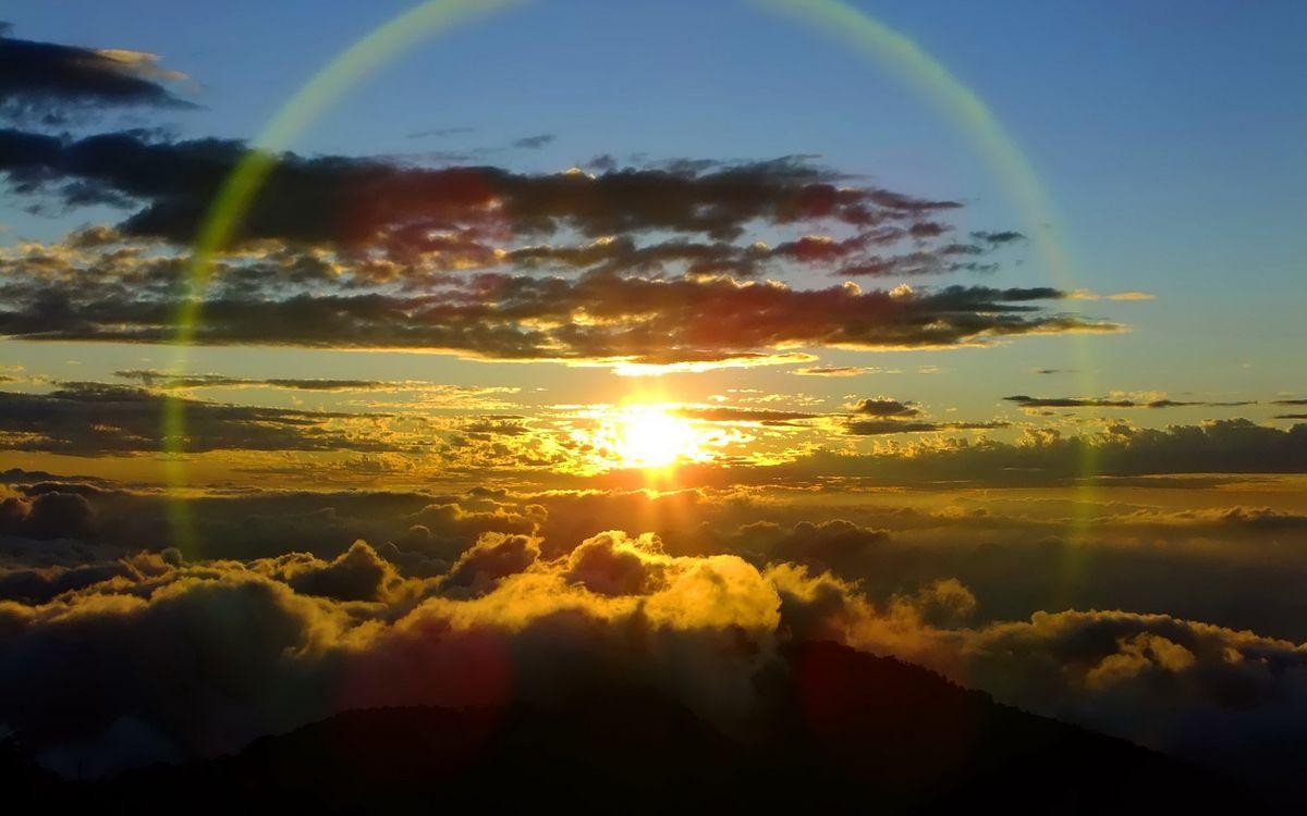 Фото бесплатно закат, солнце, вид, самолет, облака, небо, лучи - на рабочий стол