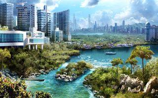 Обои здания, вода, трава, зелень, яхта, река, отмель, город, природа
