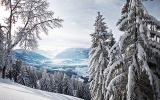 Фото бесплатно зимняя долина, горы, снег