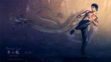 Фото бесплатно bruce lee, рисунок, дракон