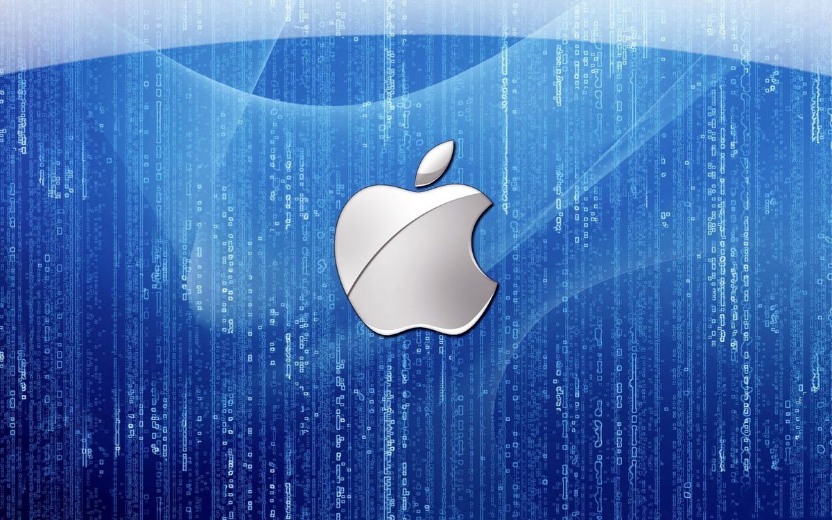 Фото бесплатно apple, синий, фон, матрица, код, hi-tech, hi-tech