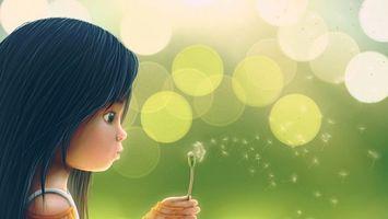 Бесплатные фото девочка,волосы,глаза,одуванчик,пух,круги,свет