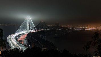 Бесплатные фото дома,мост,машины,темно,фонари,дорога,город