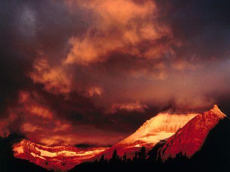 Фото бесплатно горы, снег, зарево