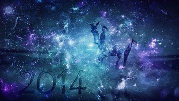 Фото бесплатно конь, год, снег, хвост, грива, копыта, бег, новый год