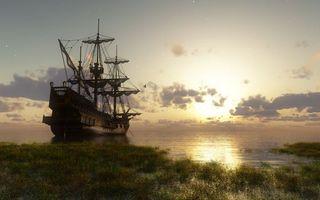 Бесплатные фото корабль,палуба,паруса,небо,облака,море,океан