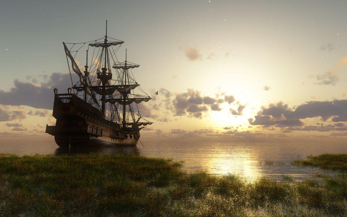 Обои корабль, палуба, паруса картинки на телефон