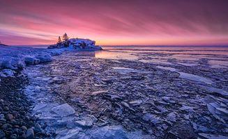 Бесплатные фото Минесота,США,зима,озеро,лёд,закат,пейзаж