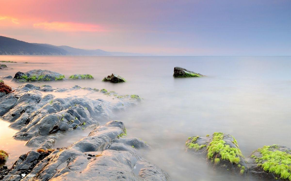 Фото бесплатно море, камни, мох, туман, небо, горы, природа, природа