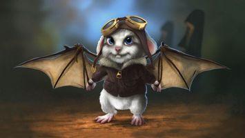 Фото бесплатно мышь, очки, крылья
