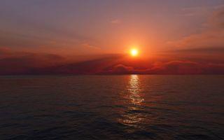 Бесплатные фото океан,солнце,небо,облака,вечер,вода,горизонт