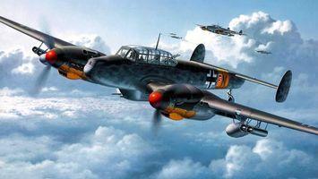 Бесплатные фото самолет,пилот,небо,облака,крылья,кабина,война