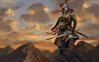Бесплатные фото самурай,воин,доспехи,меч,горы,небо,облака