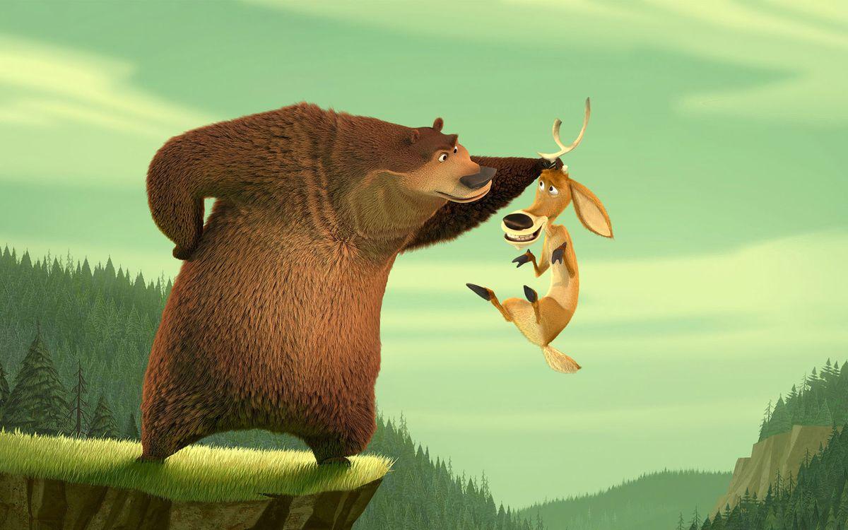 Фото бесплатно сезон охоты, медведь, держит, оленя, за рога, над пропастью, мультфильмы, мультфильмы