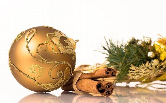 Бесплатные фото шарик,елочный,новогодний,украшение,корица,ваниль,ветки,стол,новый год,настроения,праздники