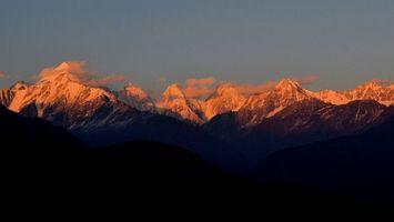 Фото бесплатно закат в горах, холмы, верхушки