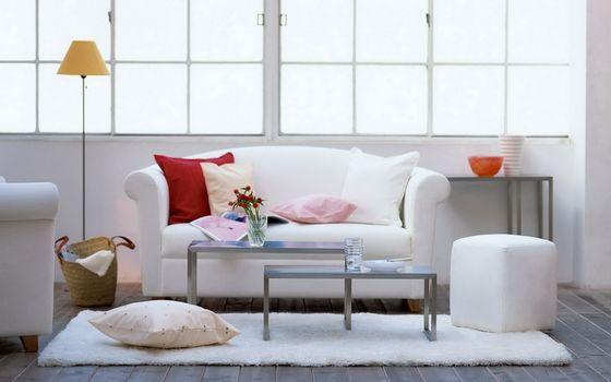 Фото бесплатно комната, деревянный пол, диван
