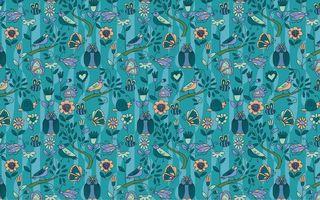 Обои цвет, совы, текстура, фон, бабочки, птички, голубой