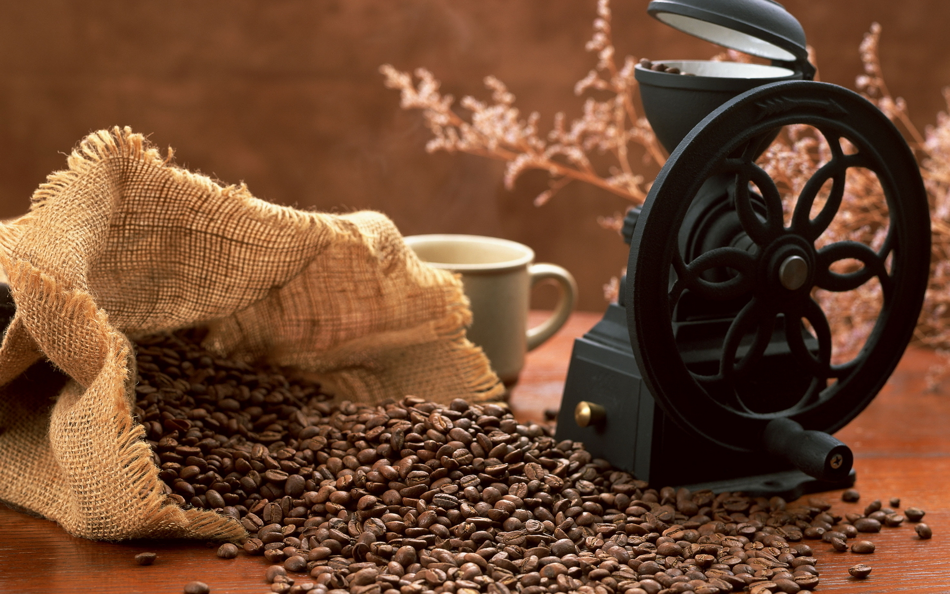 кофе, зерна, кофемолка
