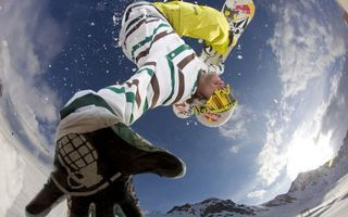 Photo free man, sportsman, snowboard