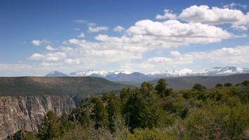 Бесплатные фото деревья,кусты,зелень,горы,снег,облака,природа