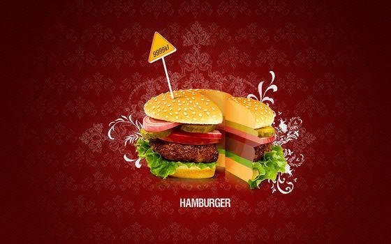 Фото бесплатно гамбургер, булка, котлета
