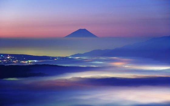 Фото бесплатно город, огни, облака