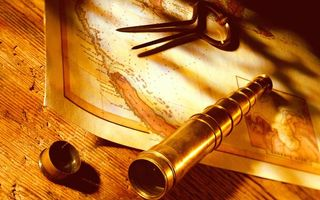 Photo free map, compasses, telescope