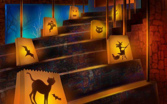 Бесплатные фото лестница,ступеньки,пакеты,фонарики,рисунки,хэллоуин,праздники