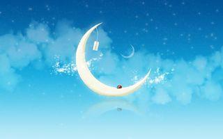 Бесплатные фото луна,месяц,небо,ночь,сумерки,звезды,голубое