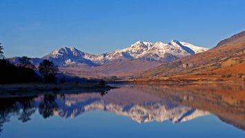 Бесплатные фото осень,озеро,отражение,горы,снег,деревья,природа