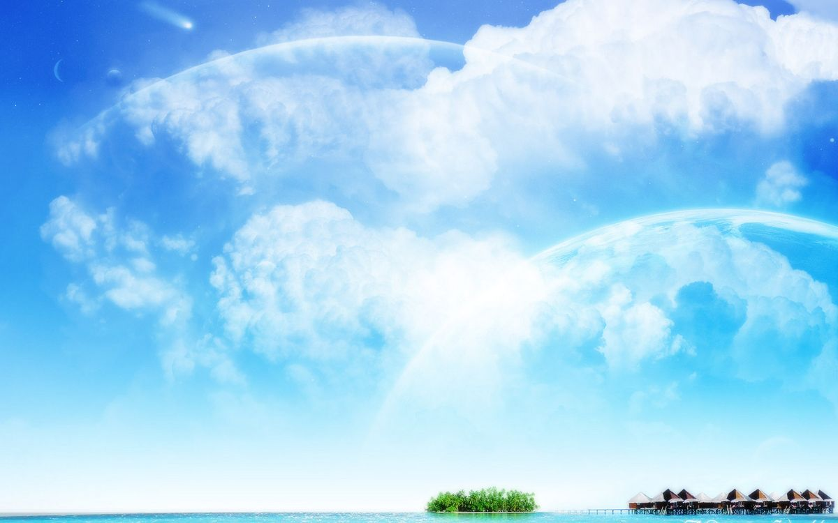 Фото бесплатно вода, небо, облака, деревья, дома, зелень, природа, природа