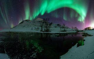 Бесплатные фото зима,снег,северное сияние,природа
