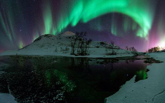 Фото бесплатно зима, снег, северное сияние