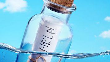 Заставки послание, в бутылке, помогите, help, океан, остров, вода