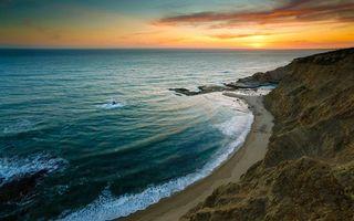 Заставки берег,море,волны,пляж,песок,закат,солнце