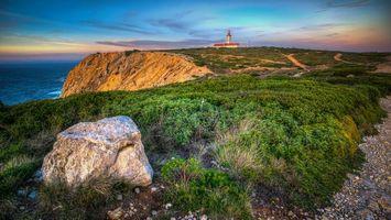 Фото бесплатно Lighthouse of Espichel Cape, Sesimbra, Lisbon, Мыс Эспишел, Сезимбре, Лиссабон, закат, маяк, пейзаж