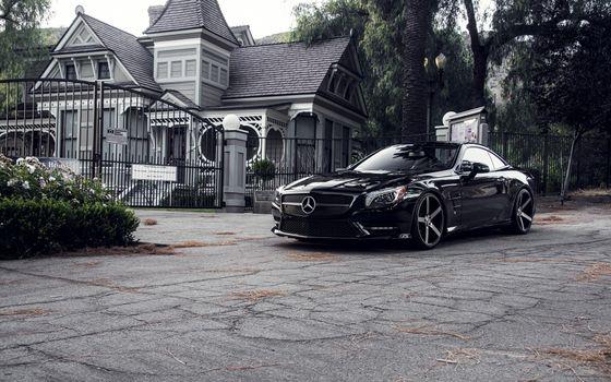 Заставки mercedes, черный, дом, особняк, ограждение, забор, черно-белое, фото, машины