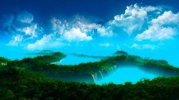 Бесплатные фото небо,облака,тучи,лес,деревья,зелень,водопад