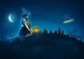 Обои ночь, луна, ведьмочка на метле, котёнок, фантастика