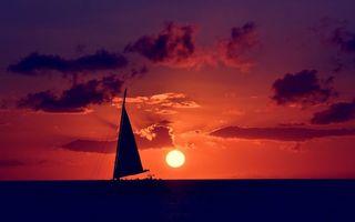 Заставки парус, корабль, море, океан, вода, волны, небо