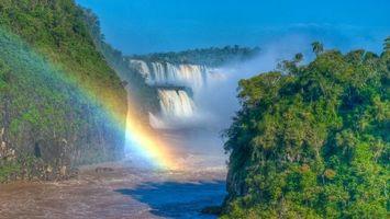 Заставки река,вода,водопад,радуга,деревья,лес,холмы