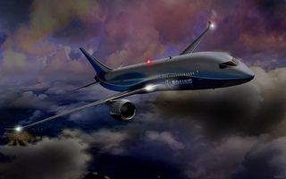 Бесплатные фото самолет,боинг,boieng,облака,город,ночь,фонари