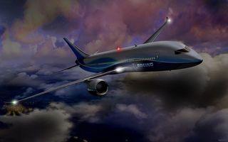 Фото бесплатно самолет, боинг, boieng, облака, город, ночь, фонари, 3d графика