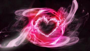 Бесплатные фото сердечко,розовое,линии,дым,огонь,черный,фон