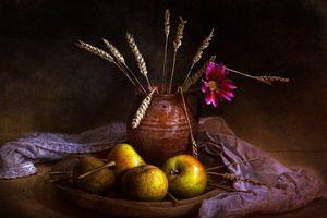 Обои стиль, натюрморт, ретро, фрукты