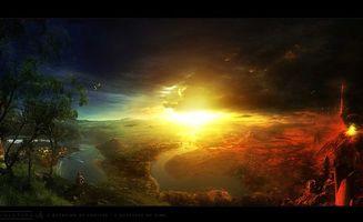 Заставки свет, яркий, зарево, красное, человек, дерево, природа